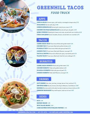 Taco Food Truck Menu Poster