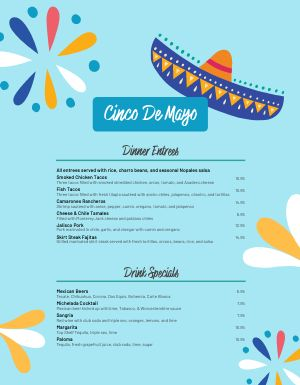 Blue Cinco De Mayo Menu