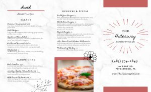 Contemporary Country Club Takeout Menu