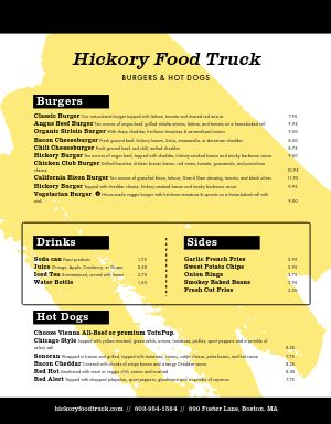Burger Food Cart Menu