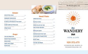 Hotel Takeout Menu Example
