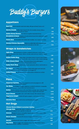 Burger List Menu