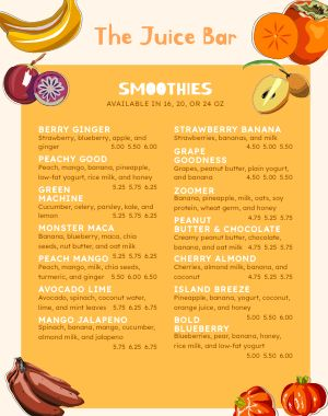 Juice Bar Menu Poster