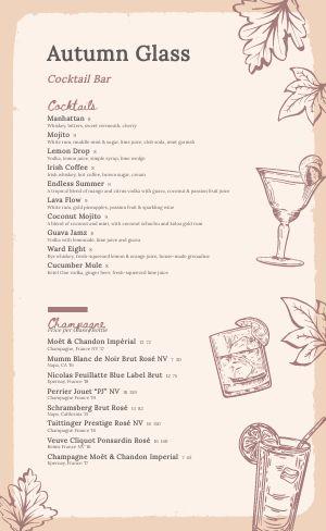 Autumn Cocktail Menu
