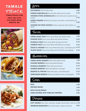 Mexican Food Truck Menu