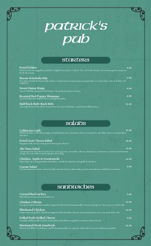 Celtic Irish Menu