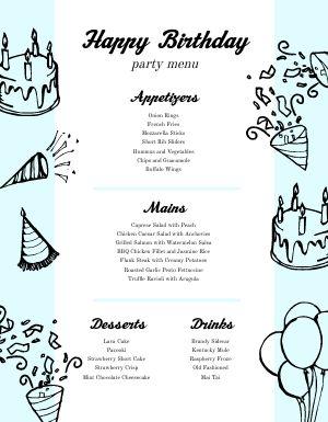 Customizable Birthday Menu