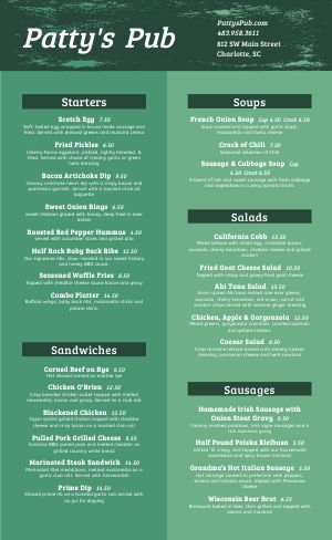 Irish Food Menu