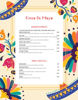 Cinco De Mayo Holiday Menu
