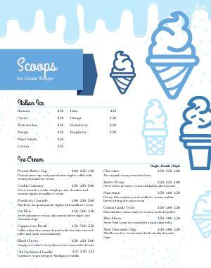 Ice Cream Shop Menu Poster