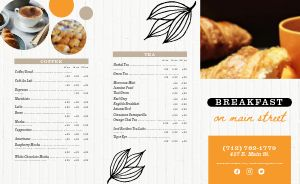 Classic Breakfast Takeout Menu Example