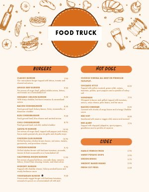 Burger Food Truck Menu