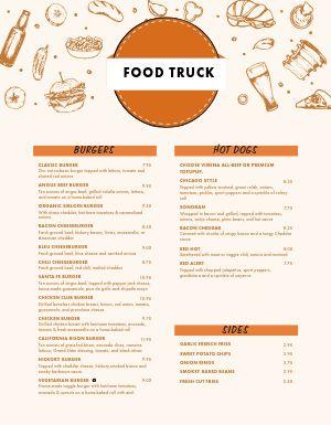 Burger Food Truck Menu