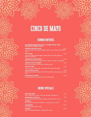 Floral Cinco De Mayo Menu