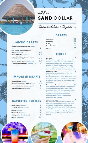 Beach Tropical Bar Menu