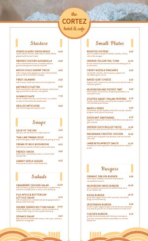 Seaside Hotel Cafe Menu