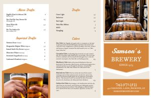 Bar Folded Menu Sample