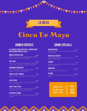 Sample Cinco De Mayo Menu
