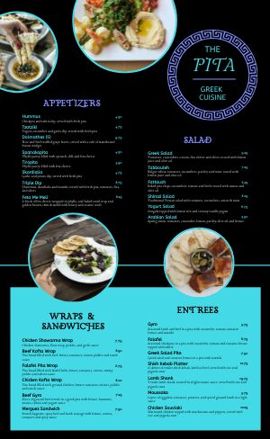 Neon Greek Menu
