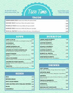 Taco Food Cart Menu Poster