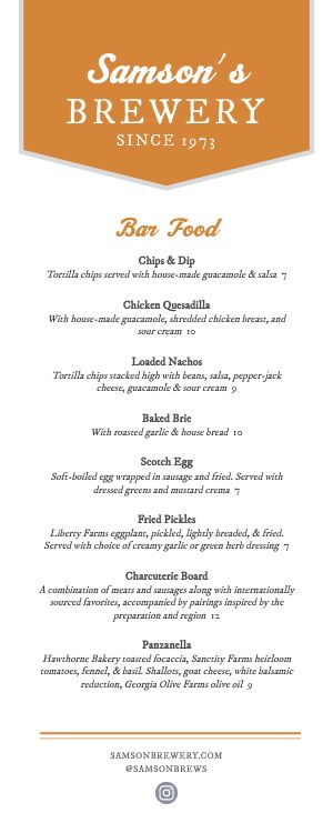 Bar Half Page Menu Sample