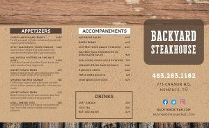 Wooden Steak Takeout Menu