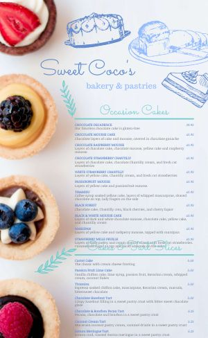 Bakery Tart Menu