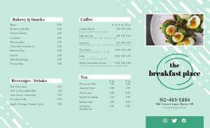 Casual Breakfast Takeout Menu Example