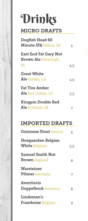 Beer Half Size Menu