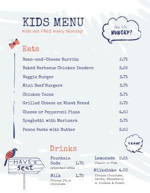 Dine In Kids Menu