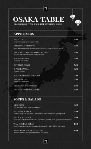 Japanese Restaurant Menu