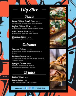 Pizza Slice Food Truck Menu Poster