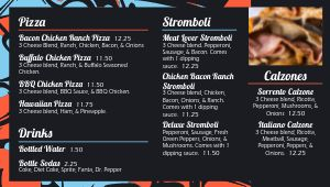 Pizza Menu Screen