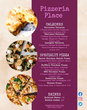 Pizzeria Food Truck Menu Poster