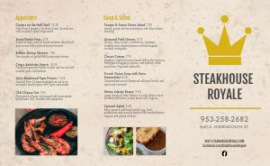 Casual Steakhouse Takeout Menu