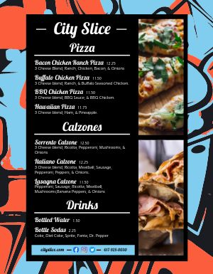 Pizza Slice Food Truck Menu