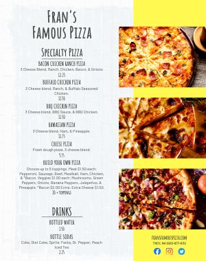 Pizzeria Food Cart Menu Poster