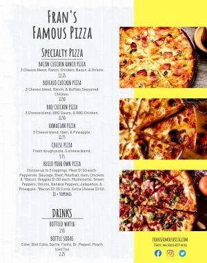 Pizzeria Food Cart Menu Poster