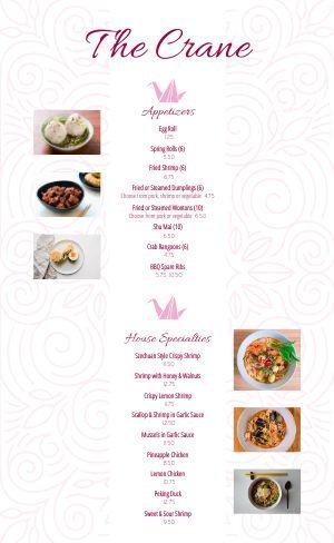 Fine Dining Chinese Menu