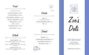Simple Delicatessen Takeout Menu