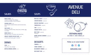 NYC Delicatessen Takeout Menu