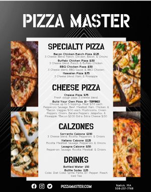 Pizza Food Truck Menu Poster