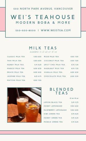 Specialty Tea Menu