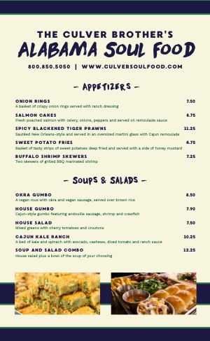 Example Soul Food Menu