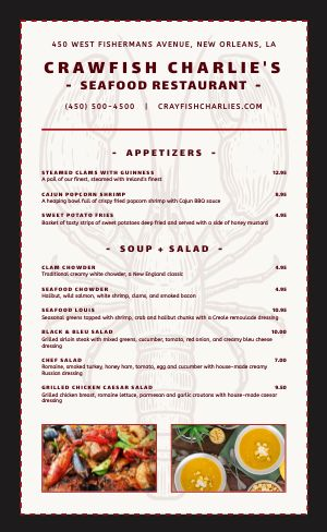 Crawfish Seafood Menu