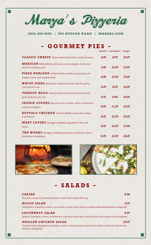 Classic Pizza Menu Example