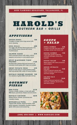 Sample Soul Food Menu