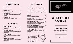 Korean Lunch Takeout Menu