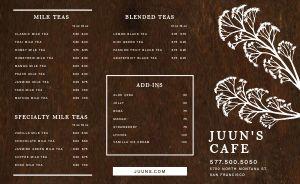 Wooden Tea Takeout Menu