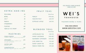 Specialty Tea Takeout Menu